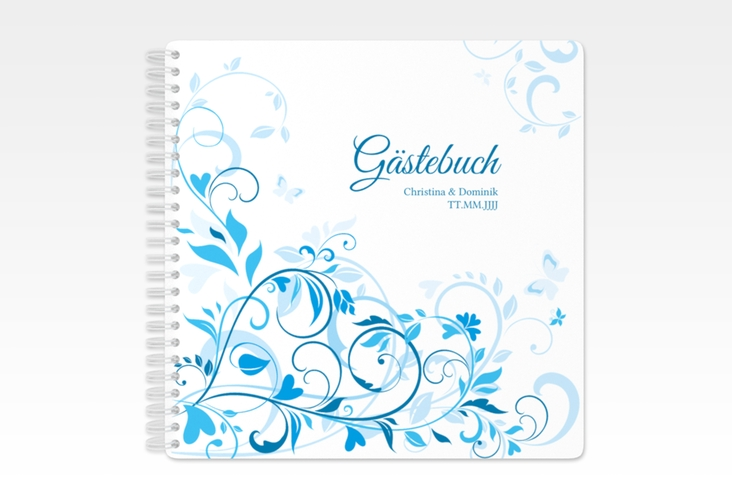 "Gästebuch Hochzeit ""Lilly"" Ringbindung blau"