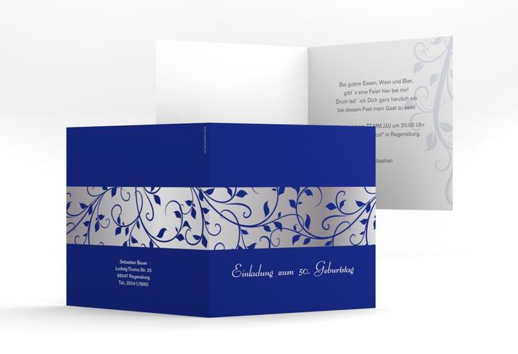 """Einladungskarte """"Hermann/Hermine"""" Quadratische Klappkarte blau"""