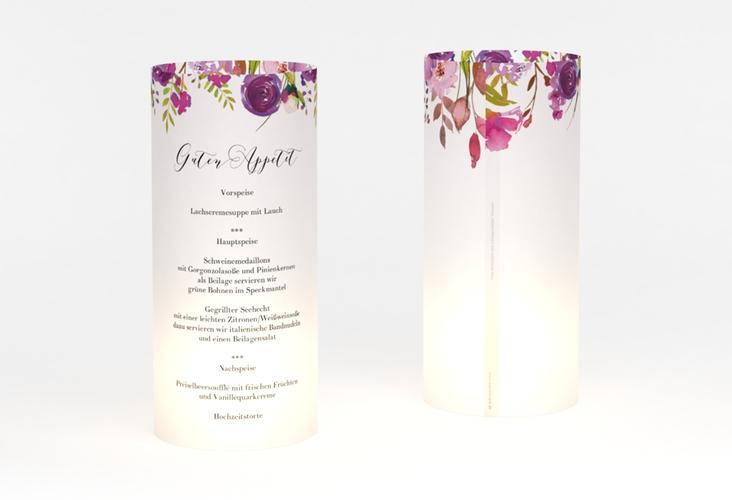 """Windlicht Menü Hochzeit """"Violett"""" Windlicht weiss"""