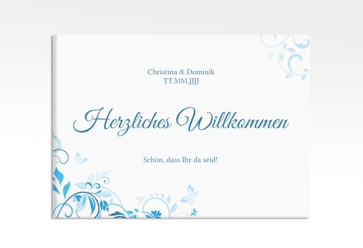 "Willkommensschild Leinwand ""Lilly"" 70 x 50 cm Leinwand blau"