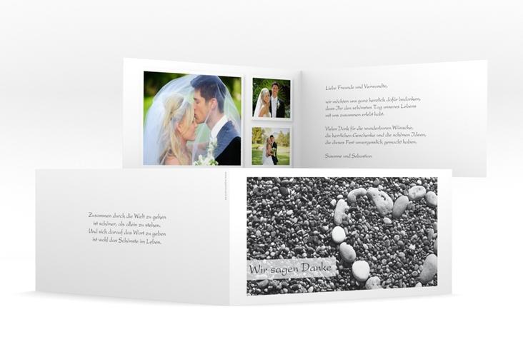"Dankeskarte Hochzeit ""Bilbao"" DIN lang Klappkarte weiss"