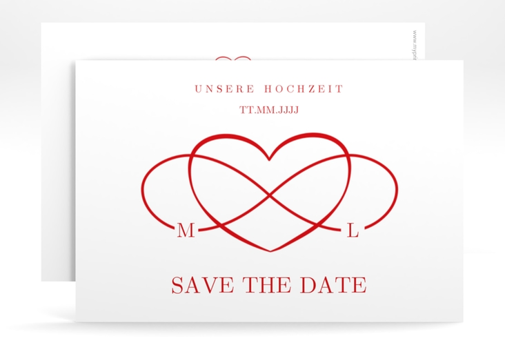 "Save the Date-Karte ""Infinity"" A6 quer rot"