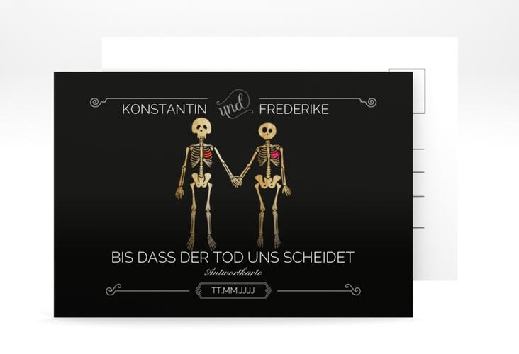 """Antwortkarte Hochzeit """"Bones"""" A6 Postkarte schwarz"""