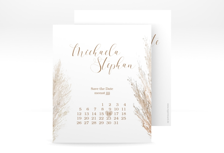 "Save the Date-Kalenderblatt ""Pampasgras"" Kalenderblatt-Karte"
