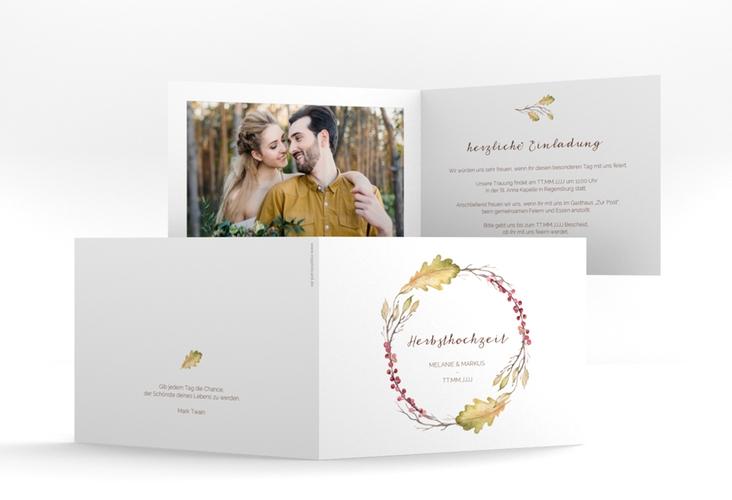"""Hochzeitseinladung """"Herbsthochzeit"""" A6 Klappkarte Quer"""