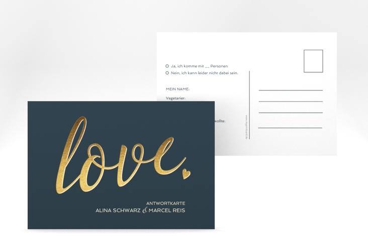 "Antwortkarte Hochzeit ""Glam"" A6 Postkarte blau"