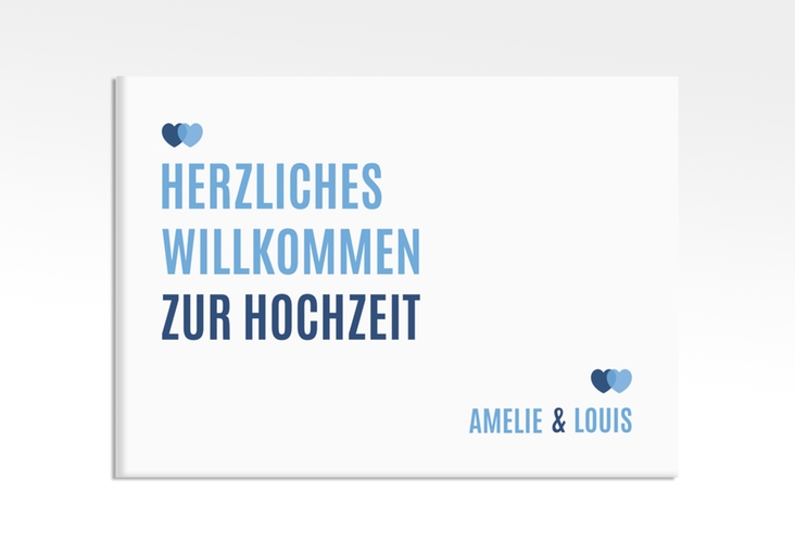"""Willkommensschild Hochzeit """"Couple"""" 70 x 50 cm Leinwand blau"""
