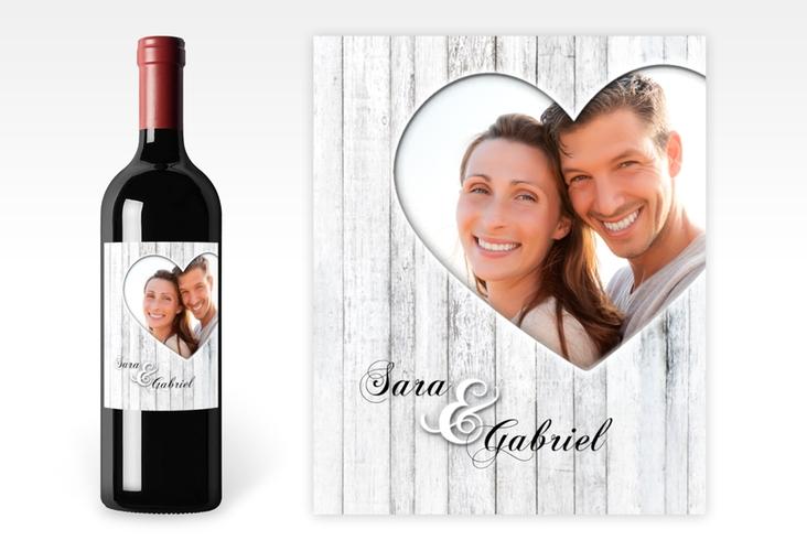 """Weinetikett zur Hochzeit """"Herz"""" Etikett Weinflasche 4er Set weiss"""