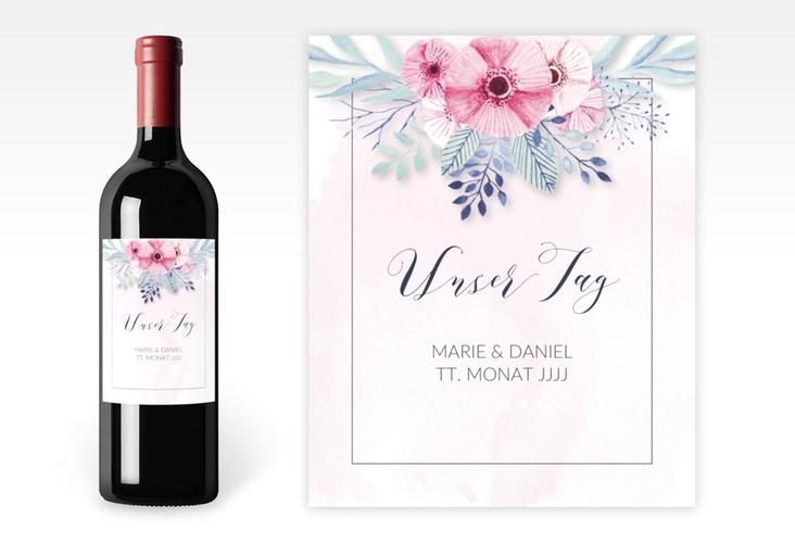 """Weinflaschenetikett Hochzeit """"Surfinia"""" Etikett Weinflasche 4er Set rosa"""