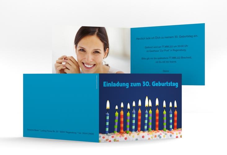 """Einladungskarte """"Candles"""" A6 Klappkarte Quer blau"""