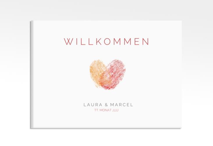 """Willkommensschild Leinwand """"Fingerprint"""" 70 x 50 cm Leinwand rot"""