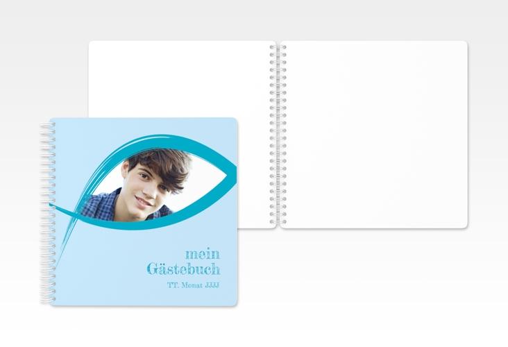 "Gästebuch Konfirmation ""Frieden"" Ringbindung blau"