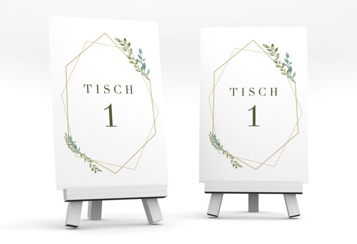 """Tischnummer Hochzeit """"Herbarium"""" Tischaufsteller gold"""