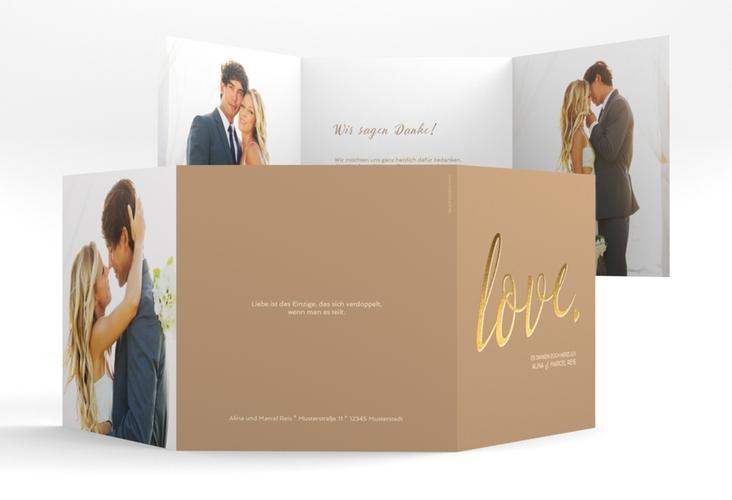 """Dankeskarte Hochzeit """"Glam"""" Quadr. Karte doppelt beige"""