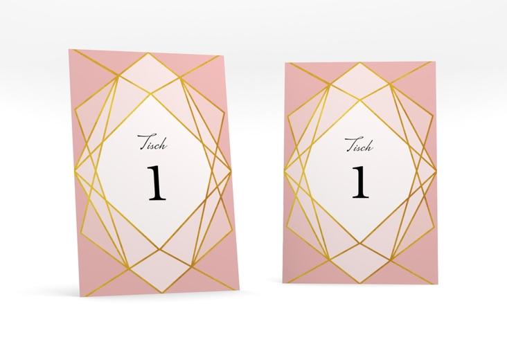 """Tischnummer Hochzeit """"Geometric"""" Tischaufsteller rosa"""