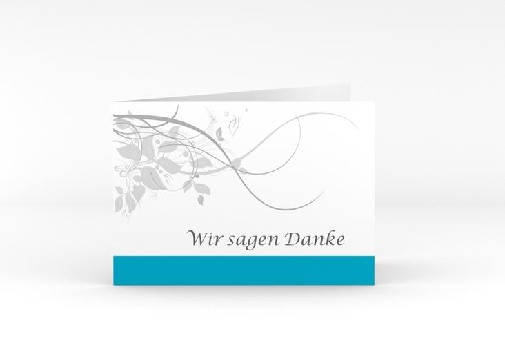 """Danksagungskarte Hochzeit """"Florenz"""" A6 Klappkarte Quer tuerkis"""