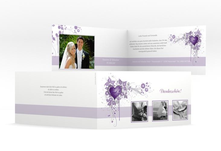 """Dankeskarte Hochzeit """"Triest"""" DIN lang Klappkarte"""