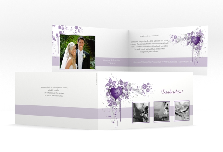 "Dankeskarte Hochzeit ""Triest"" DIN lang Klappkarte lila"
