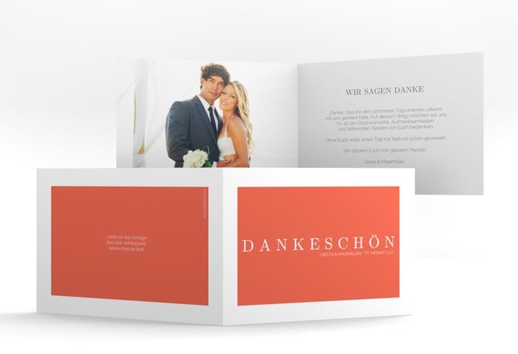 "Dankeskarte Hochzeit ""Simply"" A6 Klappkarte Quer orange"