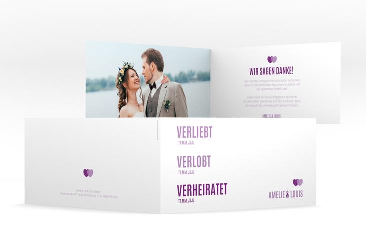 "Danksagung Hochzeit ""Couple"" DIN lang Klappkarte lila"