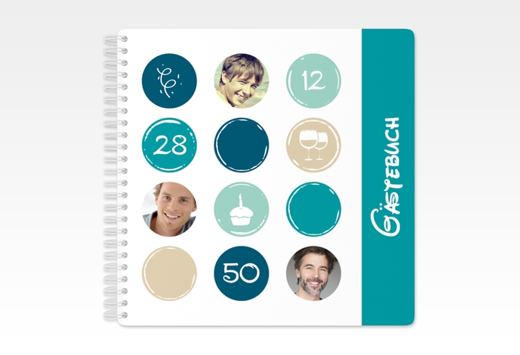 "Gästebuch Geburtstag ""Circles"" Ringbindung tuerkis"