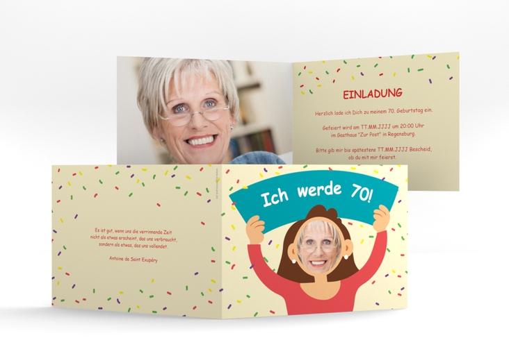 "Einladungskarte ""Comic Woman"" A6 Klappkarte Quer beige"