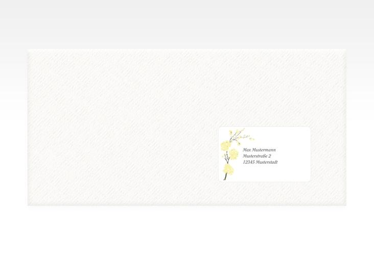 """Empfängeretikett Hochzeit """"Salerno"""" 63,5 x 38,1 mm gelb"""