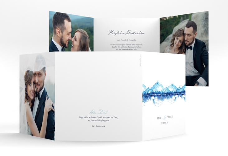 "Dankeskarte Hochzeit ""Bergliebe"" Quadr. Karte doppelt"