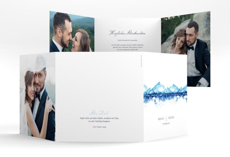 "Dankeskarte Hochzeit ""Bergliebe"" Quadr. Karte doppelt blau"