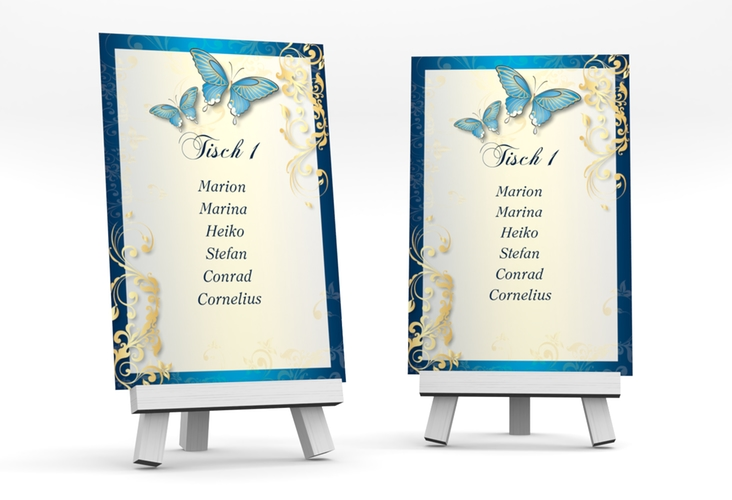 """Tischaufsteller Hochzeit """"Toulouse"""" Tischaufsteller blau"""