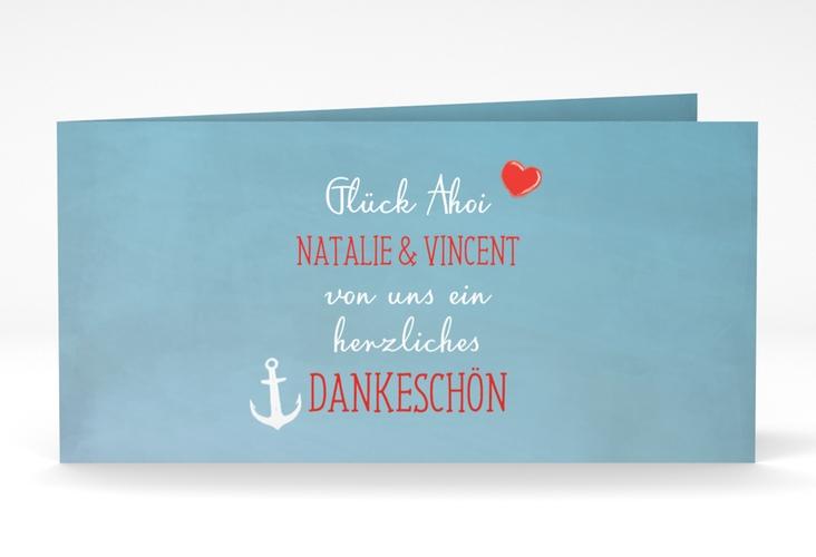 """Danksagungskarte Hochzeit """"Ehehafen"""" DIN lang Klappkarte"""