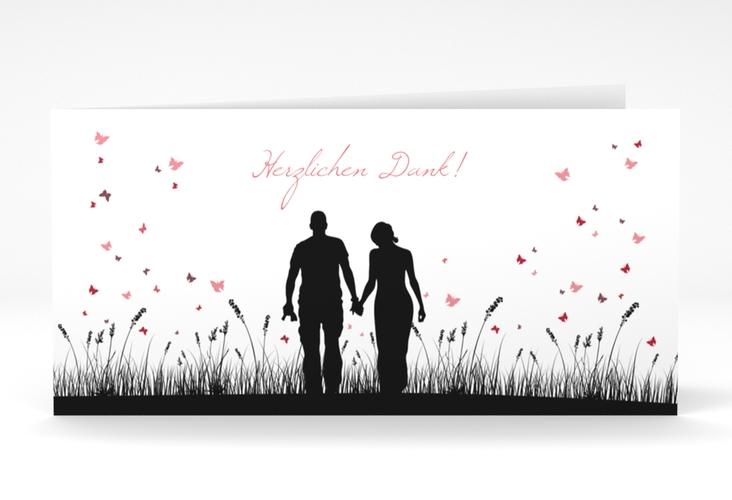"""Danksagungskarte Hochzeit """"Rouen"""" DIN lang Klappkarte schwarz"""