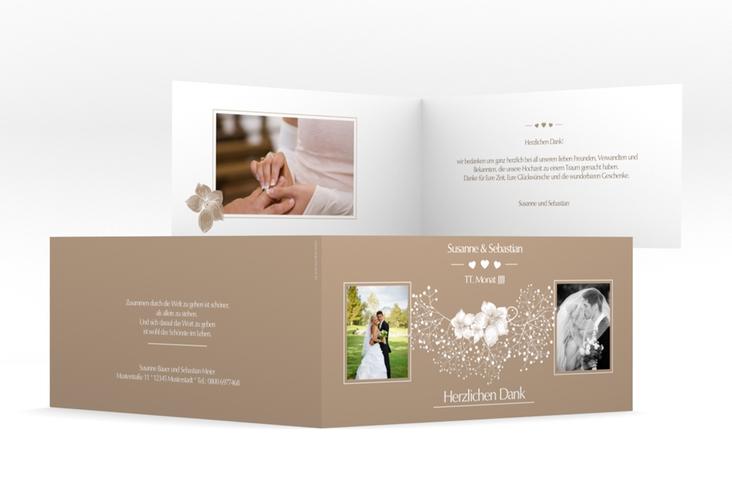 "Danksagungskarte Hochzeit ""Jena"" DIN lang Klappkarte braun"