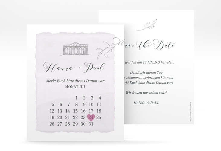 "Save the Date-Kalenderblatt ""Villa"" Kalenderblatt-Karte"
