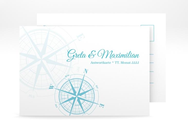 """Antwortkarte Hochzeit """"Windrose"""" A6 Postkarte tuerkis"""