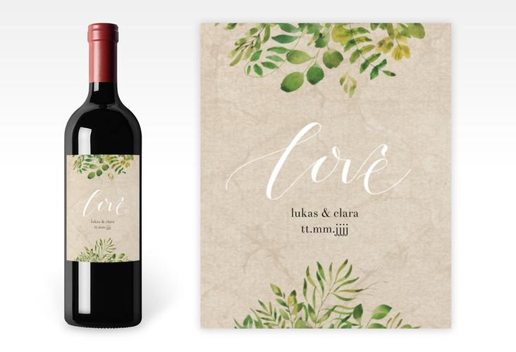 """Weinflaschenetikett Hochzeit """"Botany"""" Etikett Weinflasche 4er Set"""