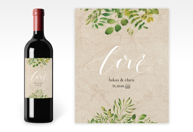 """Weinflaschenetikett Hochzeit """"Botany"""" Etikett Weinflasche 4er Set beige"""