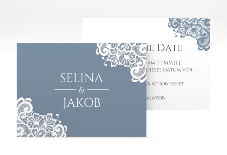 "Save the Date-Visitenkarte ""Vintage"" Visitenkarte blau"