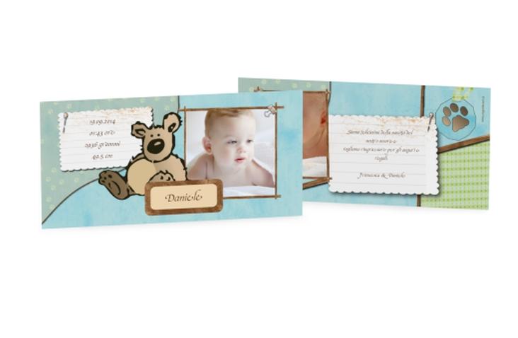 Biglietti nascita orsacchiotto DIN lang