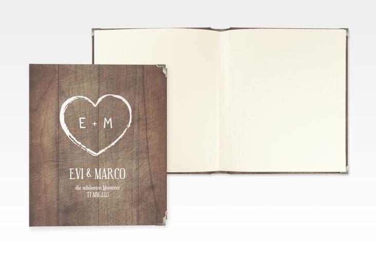 """Hochzeitsalbum """"Wood"""" 21 x 25 cm braun"""