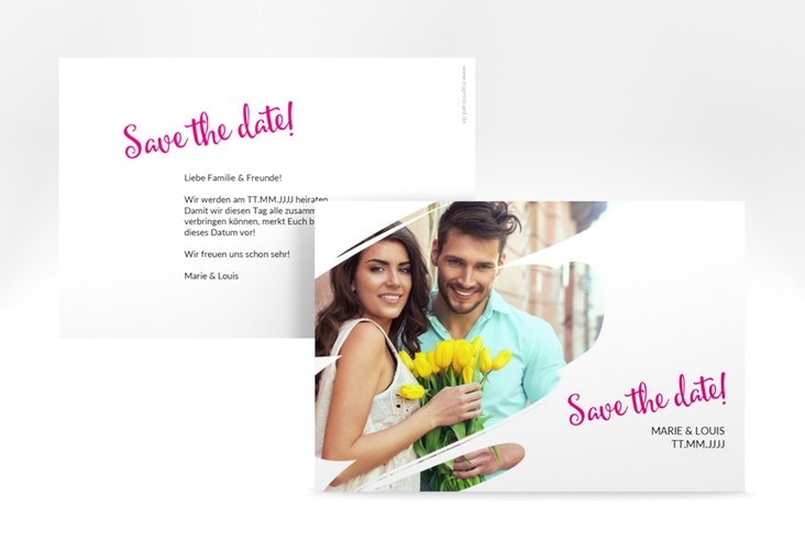 "Save the Date-Karte ""Felice"""" A6 quer pink"