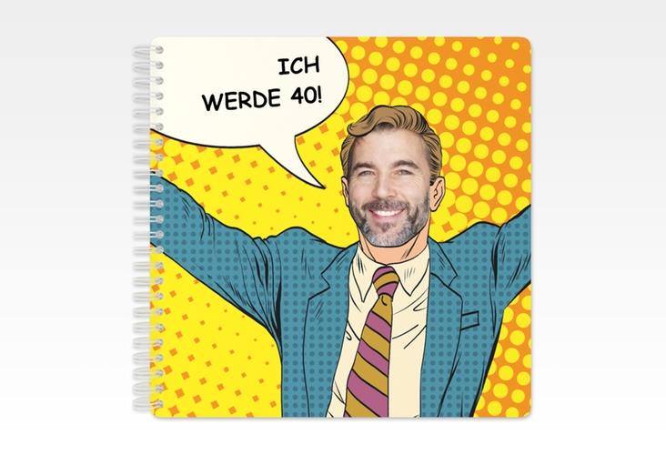 "Gästebuch Geburtstag ""Popart Man"" Ringbindung gelb"