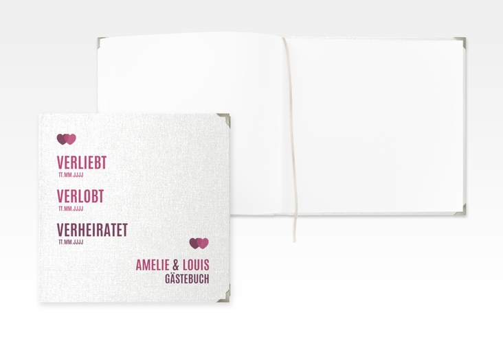 """Gästebuch Selection Hochzeit """"Couple"""" Hardcover pink"""