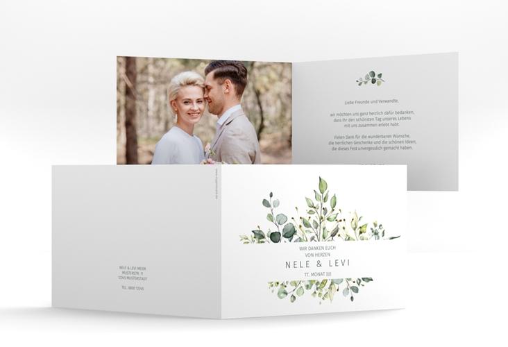 """Danksagungskarte Hochzeit """"Enchanting"""" A6 Klappkarte Quer weiss"""
