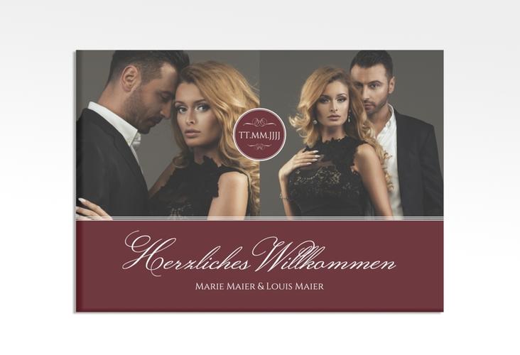 """Willkommensschild Hochzeit """"Elegancy"""" 70 x 50 cm Leinwand rot"""