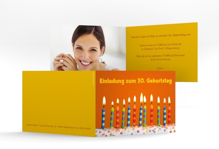 "Einladungskarte ""Candles"" A6 Klappkarte Quer orange"