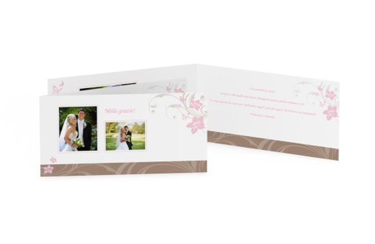 Ringraziamenti matrimonio collezione Parma DIN lang Klappkarte rosa