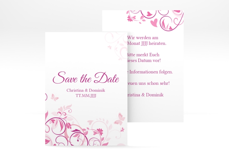 "Save the Date-Visitenkarte ""Lilly"" Visitenkarte pink"