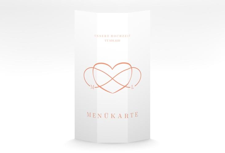 """Menükarte Hochzeit """"Infinity"""" DIN A4 Wickelfalz apricot"""