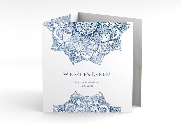 """Dankeskarte Hochzeit """"Delight"""" Quadr. Karte doppelt blau"""